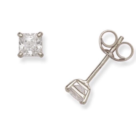 0c7f98019 Swarovski Jewelry   14k White Gold 3mm Crystal Earrings   Poshmark